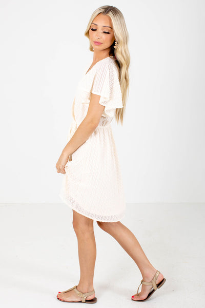 Women's Cream Flutter Sleeve Boutique Mini Dress