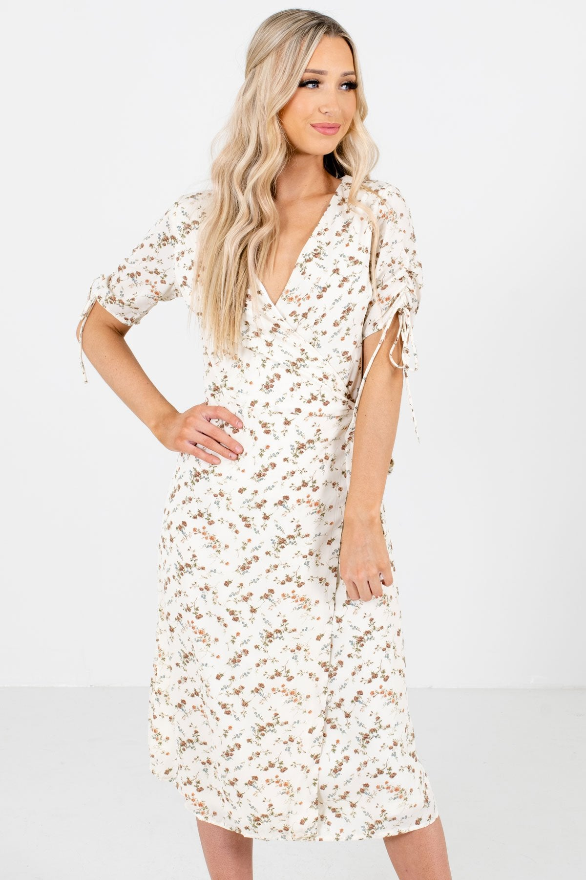 White Floral Patterned Boutique Midi Dresses for Women