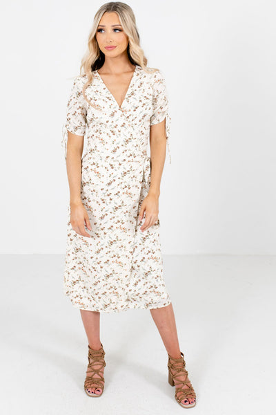 Women's White V-Neckline Boutique Midi Dresses