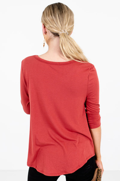 Women's Dark Coral Infinity Knot Detail Boutique Tops