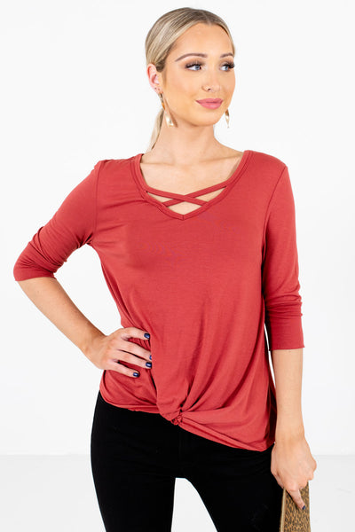 Dark Coral Cute and Comfortable Boutique Tops for Women
