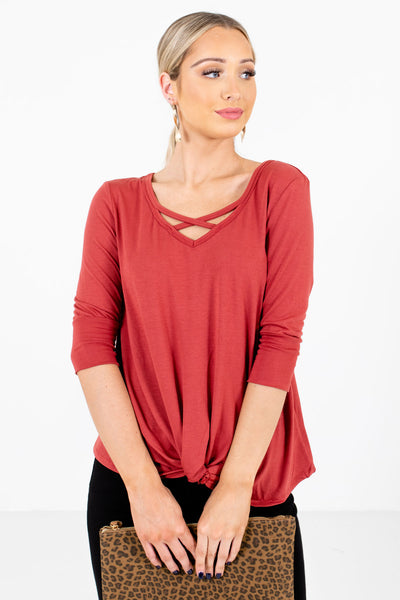 Women's Dark Coral Casual Everyday Boutique Tops