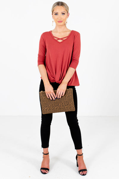 Women's Dark Coral Fall and Winter Boutique Clothing