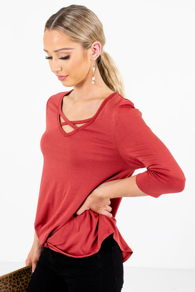 Dark Coral 3/4 Length Sleeve Boutique Tops for Women
