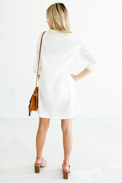 Women's Cream 3/4 Length Sleeve Boutique Mini Dress