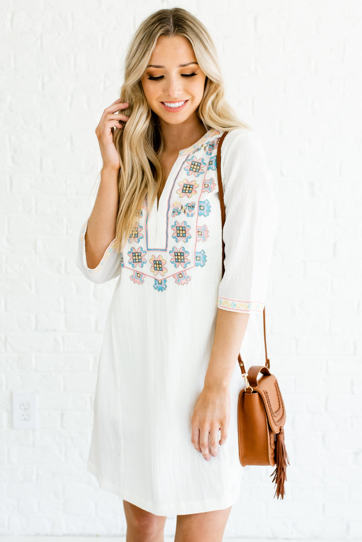 Cream White Embroidered Boutique Mini Dresses for Women