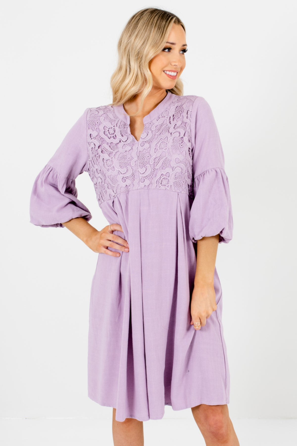 Lilac Purple Puff Sleeve Peasant Bohemian Chic Crochet Lace Dresses