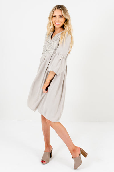 Sage Green Knee-Length Boutique Dresses with Puff Sleeves