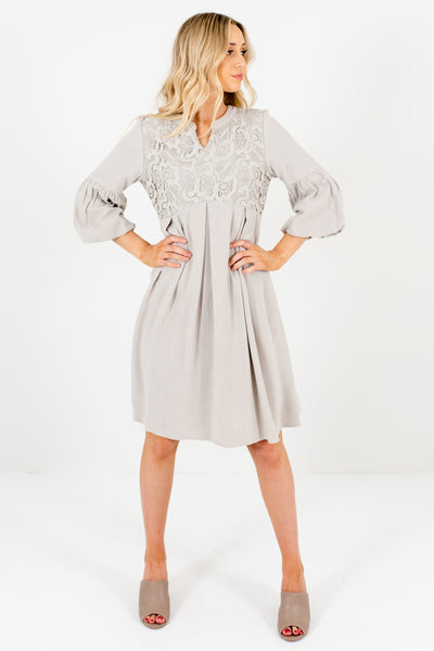 Muted Sage Green Puff Sleeve Crochet Lace Dresses for Women