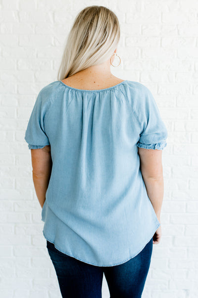 Blue Denim Chambray Plus Size Peasant Tops with Puff Sleeves and Embroidery