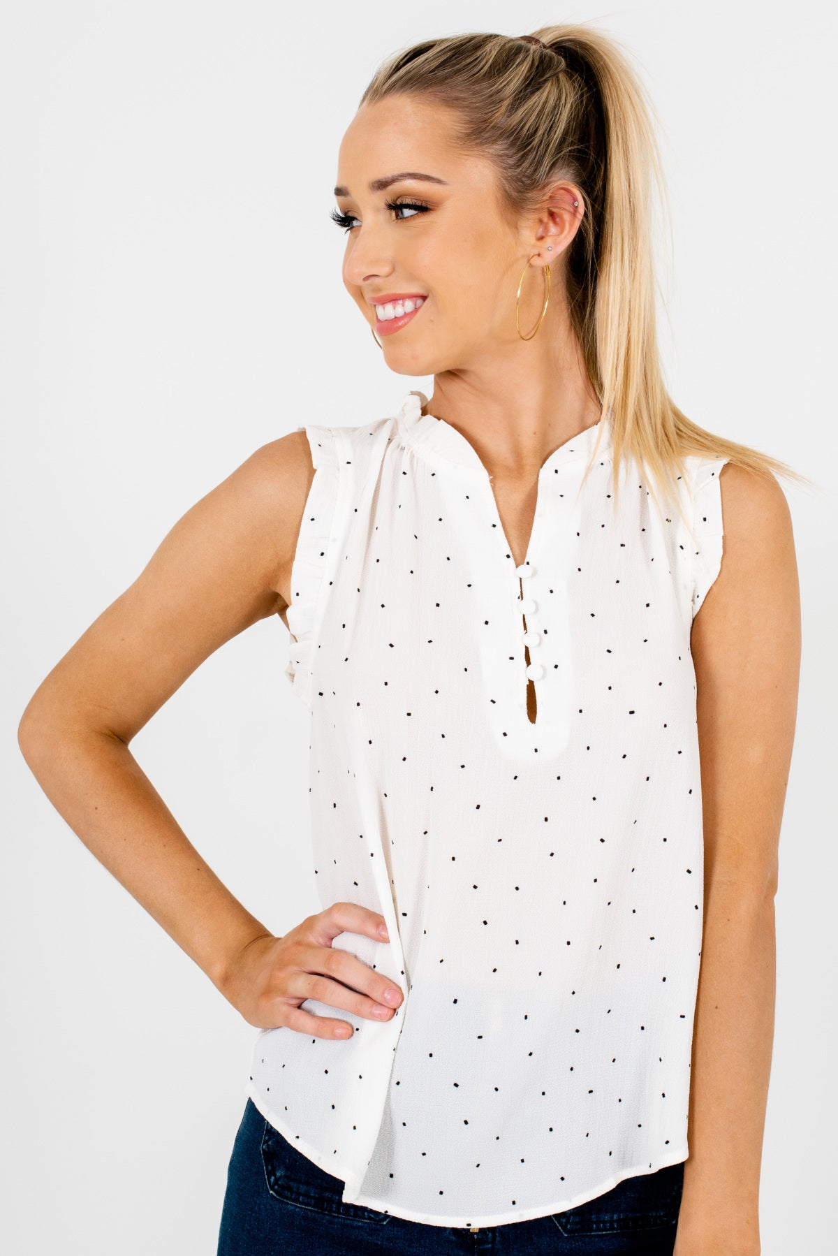 White and Black Patterned Boutique Blouses for Women