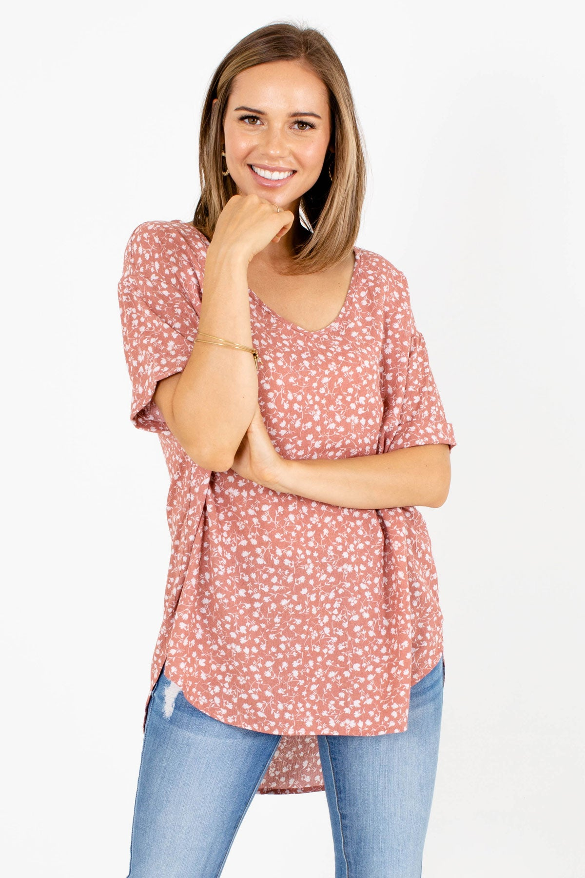 Pink and White Floral Patterned Boutique Blouses for Women