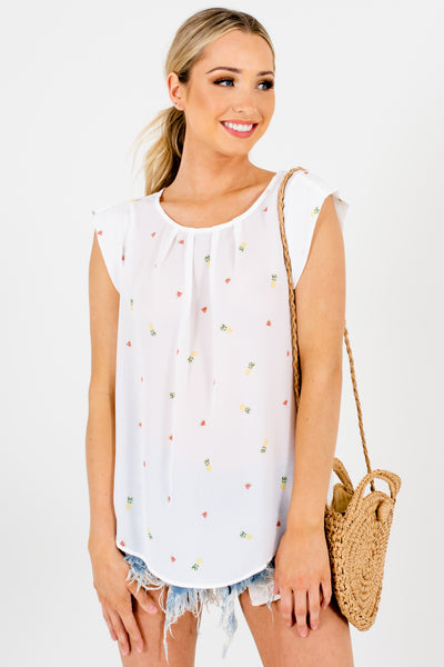 White Multicolored Patterned Boutique Blouses for Women