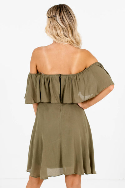 Women's Olive Green Fully Lined Boutique Mini Dress