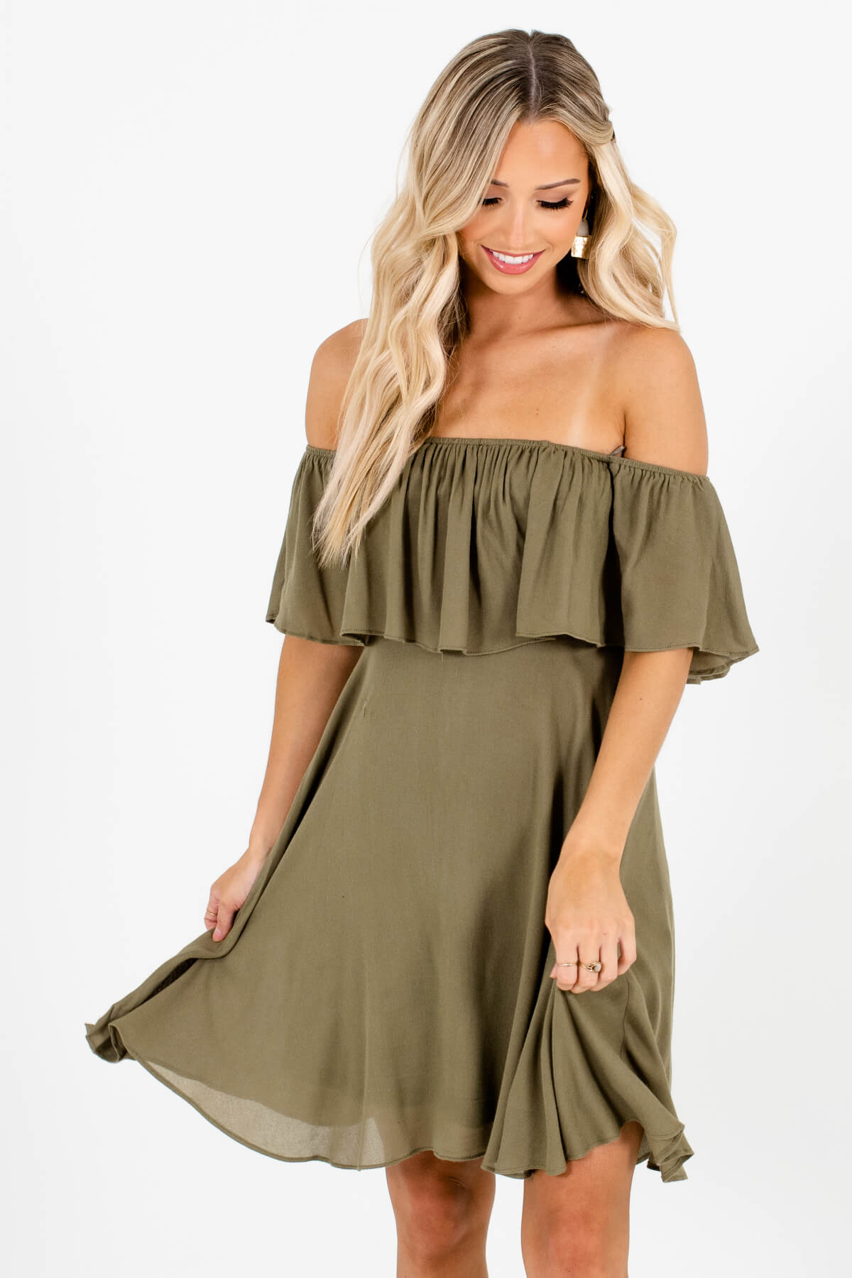 Olive Green Off Shoulder Style Boutique Mini Dresses for Women