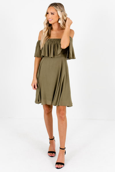 Olive Green Cute and Comfortable Boutique Mini Dresses for Women