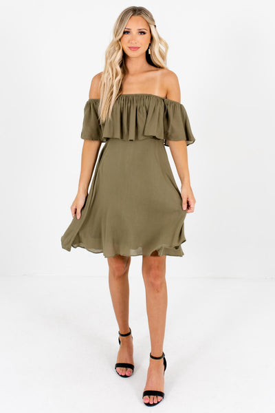 Women's Olive Green Flowy Silhouette Boutique Mini Dresses