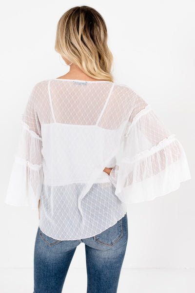 White Sheer Mesh Daisy Tops Affordable Online Boutique