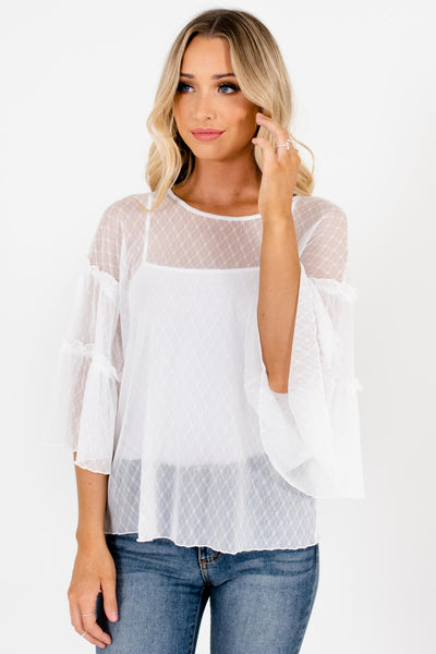 White See Through Sheer White Mesh Peasant Blouses for Women