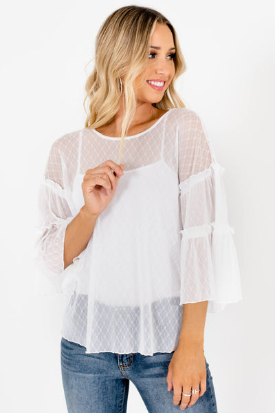 White Daisy Print Sheer Mesh Tops Affordable Boutique