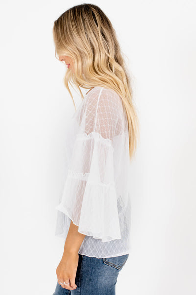 White Sheer See Through Mesh Tops Affordable Online Boutique