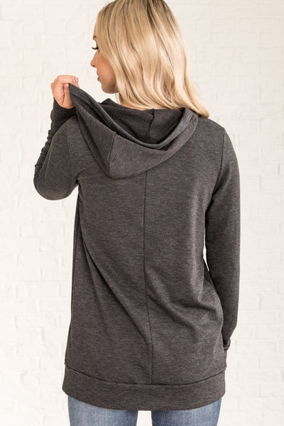 Charcoal Gray Cute Hoodies for Women