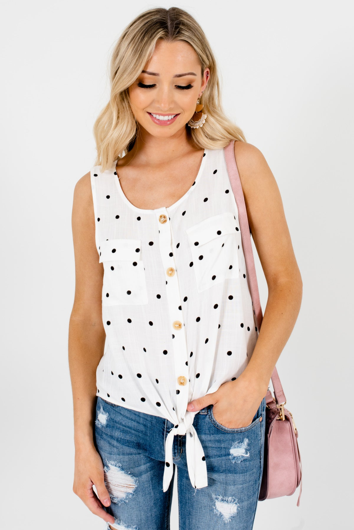 White and Black Polka Dot Patterned Boutique Tank Tops for Women