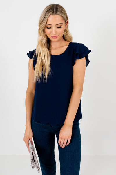 Navy Blue Tiered Ruffle Sleeve Scalloped Hem Blouses for Women