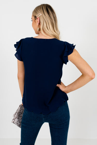 Navy Blue Tiered Ruffle Sleeve Scalloped Hem Tops and Blouses