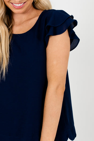 Navy Blue Scalloped Hem Tiered Ruffle Sleeve Boutique Blouses