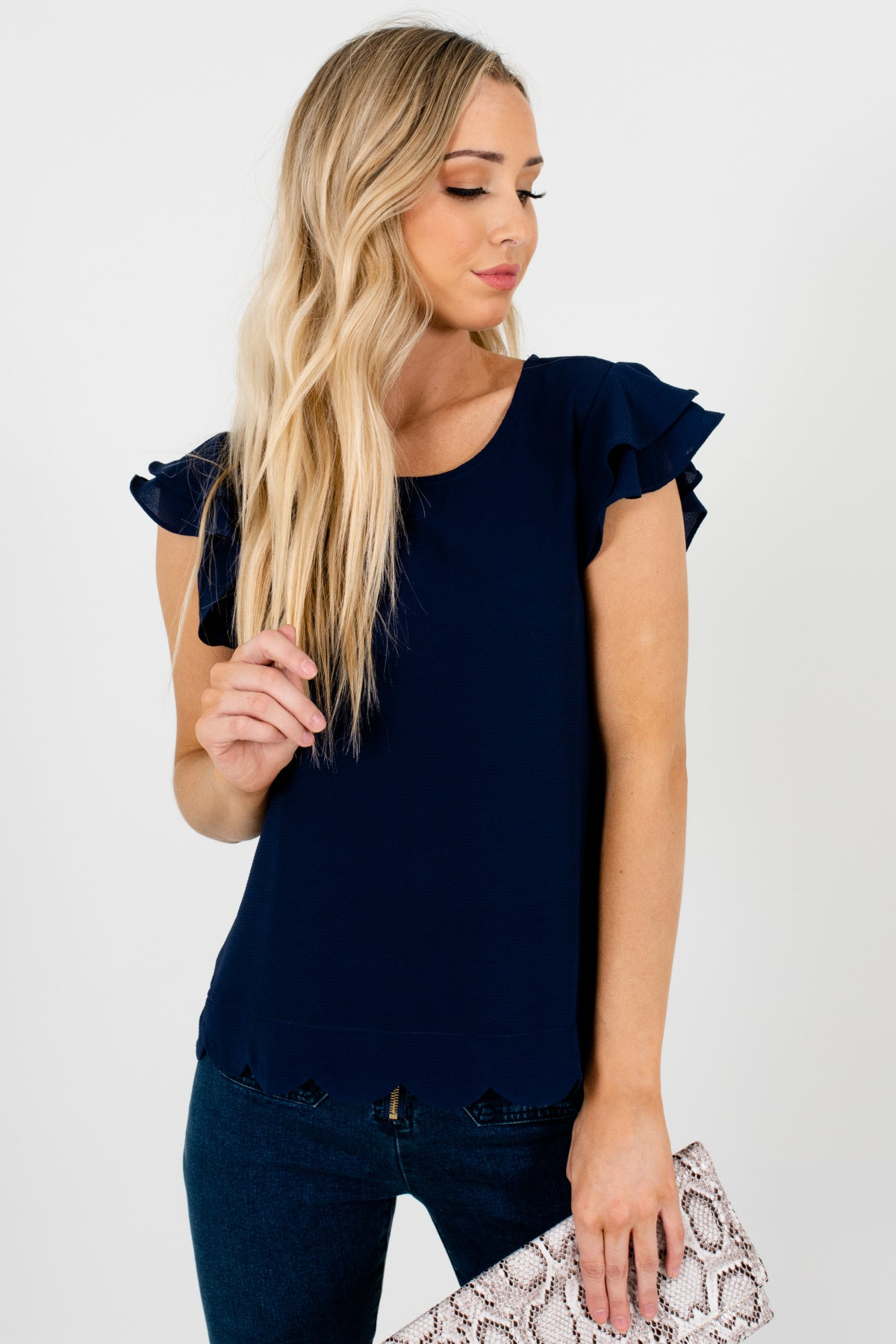 Navy Blue Tiered Ruffle Sleeve Scalloped Hem Boutique Blouses