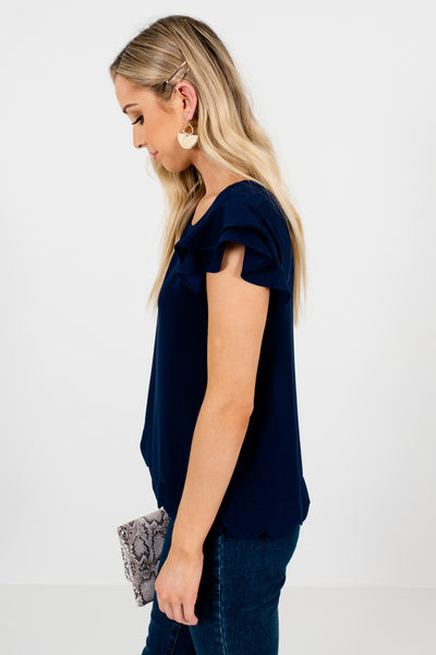 Navy Blue Boutique Ruffle Sleeve Scalloped Hem Tops and Blouses