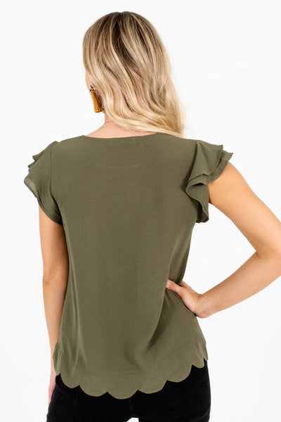 Women's Olive Green Tiered Ruffle Sleeve Boutique Blouse