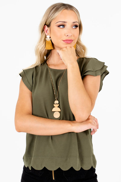 Olive Green Lightweight Textured Material Boutique Blouses for Women