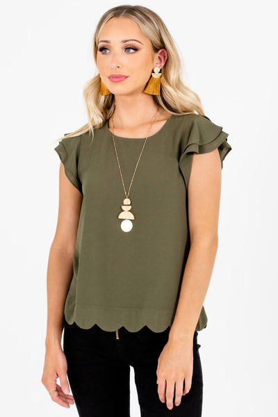 Olive Green Round Neckline Boutique Blouses for Women