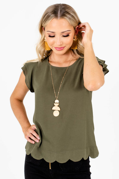 Olive Green Scalloped Hem Boutique Blouses for Women