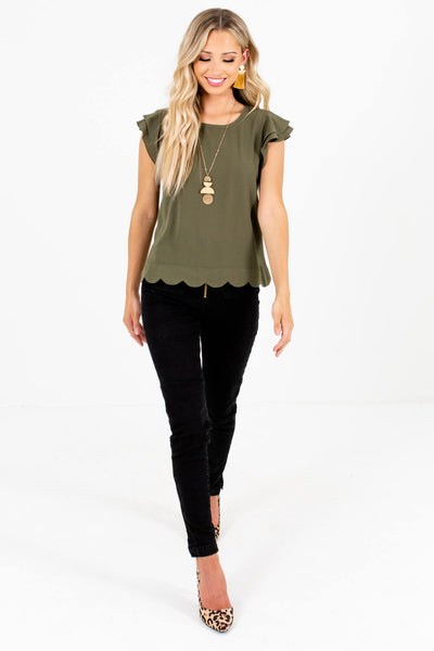 Women's Olive Green Business Casual Boutique Blouses for Women