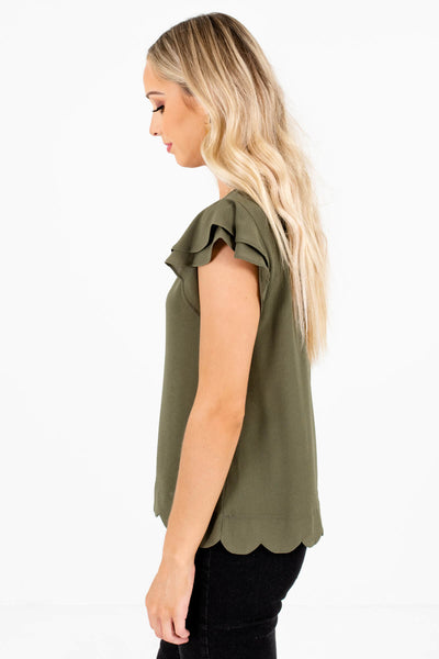Women's Olive Green Cute and Comfortable Boutique Blouses