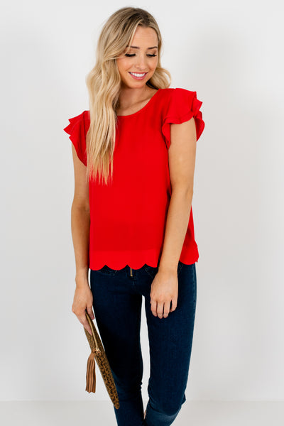 Red Tiered Ruffle Sleeve Scalloped Blouses Affordable Online Boutique