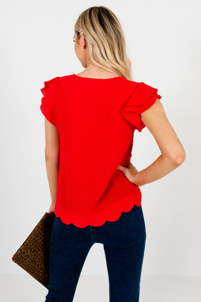 Red Tiered Ruffle Sleeve Scalloped Hem Boutique Blouses for Women