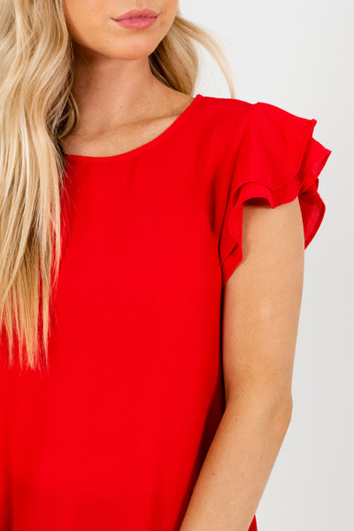 Red Tiered Ruffle Sleeve Scalloped Hem Tops and Blouses for the Office