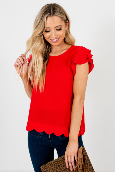 Red Tiered Ruffle Sleeve Scalloped Hem Blouses Affordable Online Boutique