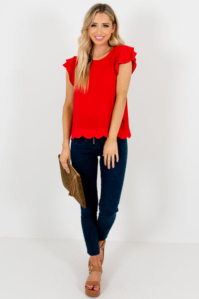 Red Tiered Ruffle Sleeve Scalloped Blouses Womens Business Casual