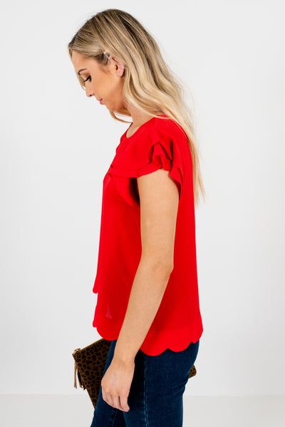 Red Tiered Ruffle Sleeve Scalloped Hem Blouses for Women