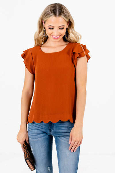 Rust Orange Lightweight Textured Material Boutique Blouses for Women
