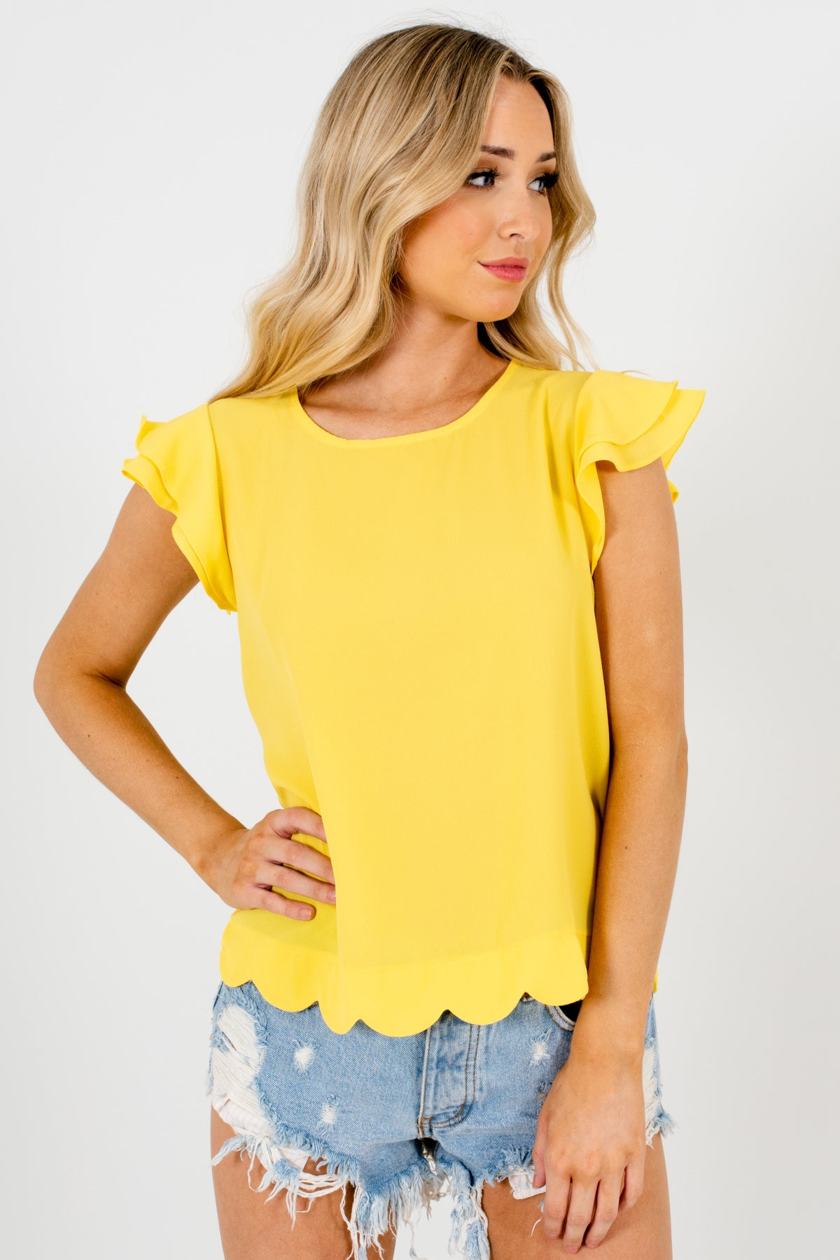 Yellow Tiered Ruffle Sleeve Scalloped Hem Blouses Affordable Online Boutique