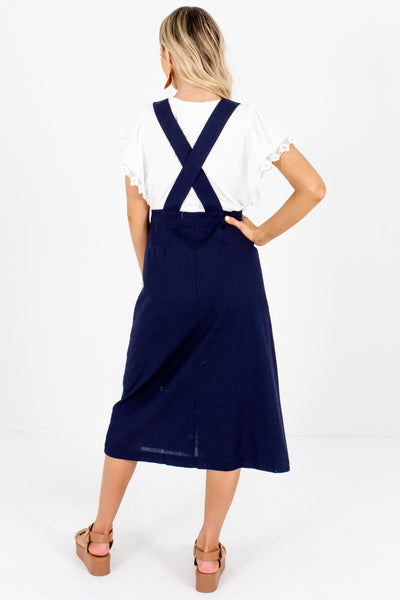 Women's Dark Blue Criss-Cross Back Boutique Midi Dress