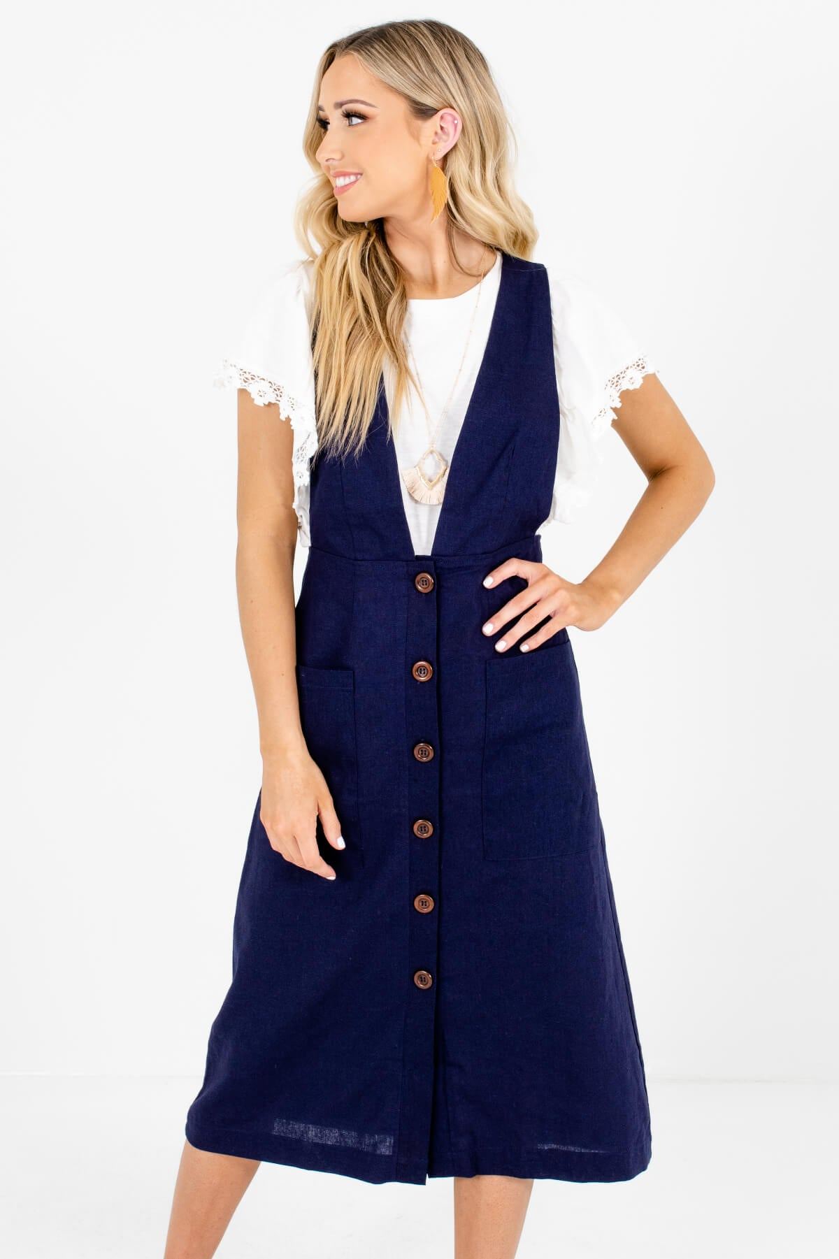 Dark Blue Pinafore Style Boutique Midi Dresses for Women