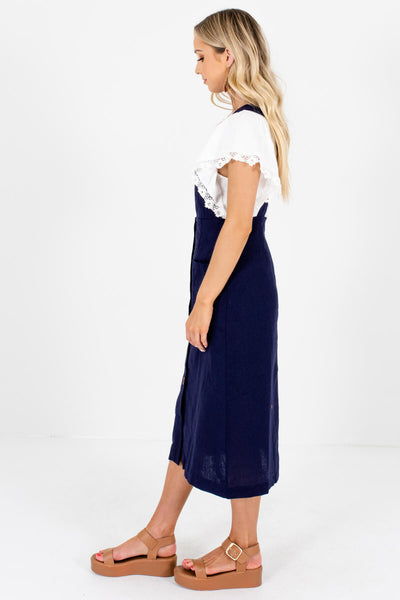 Dark Blue Button-Up Front Boutique Midi Dresses for Women