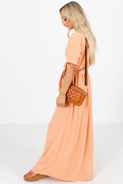 Peach Pink Short Sleeve Boutique Maxi Dresses for Women